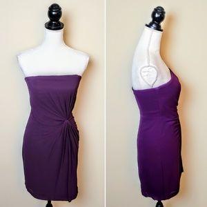 CLUB MONACO Cocktail Dress, Purple Silk Ruched, 0